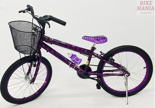 Bicicleta Aro 20 Frozen com Cesta Aramada + Pezinho Brinde