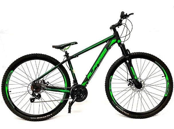 Bicicleta Aro 29 Mountain Bike Alfameq Cambios Shimano Verde