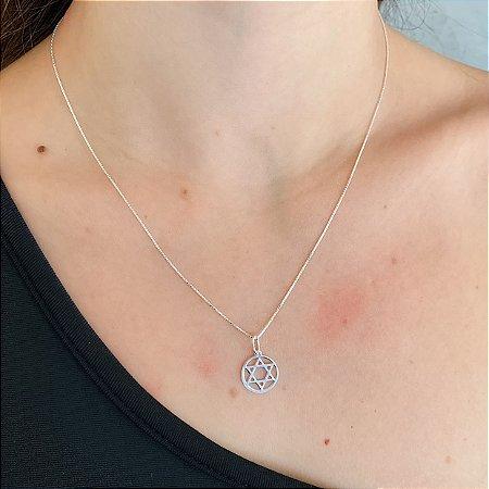 Colar de Prata 925 Estrela de Davi Vazada