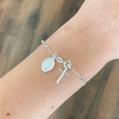 Pulseira de Prata 925 Cruz e Medalha Sagrado Coração de Jesus