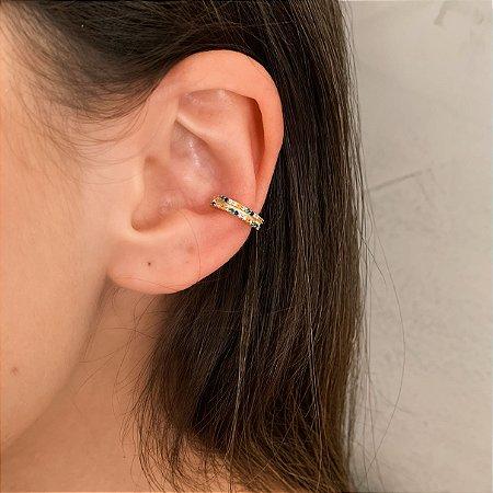 Piercing Fake Cravejado com Zircônias Coloridas Banhado a Ouro 18k