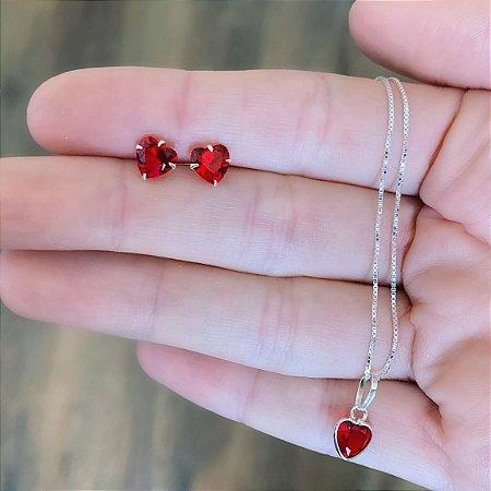 Conjunto Colar e Brinco de Prata 925 Coração Zircônia Vermelho Delicado