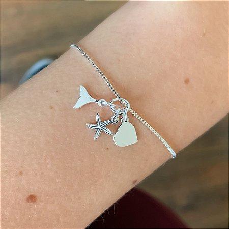 Pulseira de Prata 925 com Pingentes Coração, Estrela e Rabo de Baleia