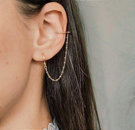 Brinco e Ear Cuff Corrente de Bolinhas Banhado a Ouro 18k