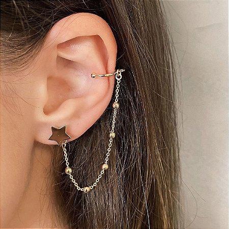 Brinco e Ear Cuff Corrente de Estrelas e Bolinhas  Banhado a Ouro 18k
