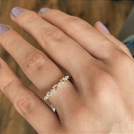 Anel de Prata 925 Mini Corações
