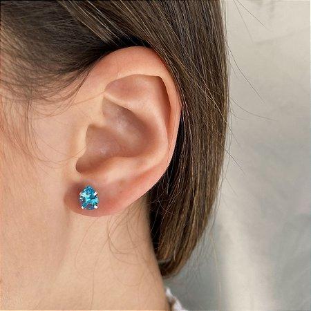 Brinco de Prata 925 Zircônia Azul Clara