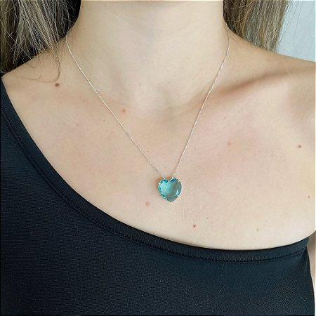 Colar de Prata 925 Coração Zircônia Azul Claro