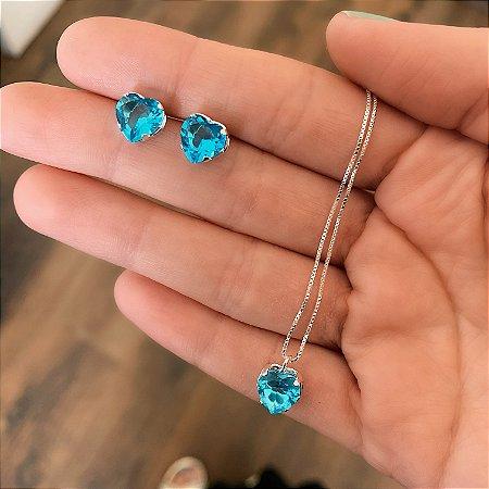 Conjunto Colar e Brinco de Prata 925 Coração Zircônia Azul Claro