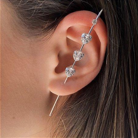 Brinco Ear Pin de Prata 925 com Corações de Zircônia