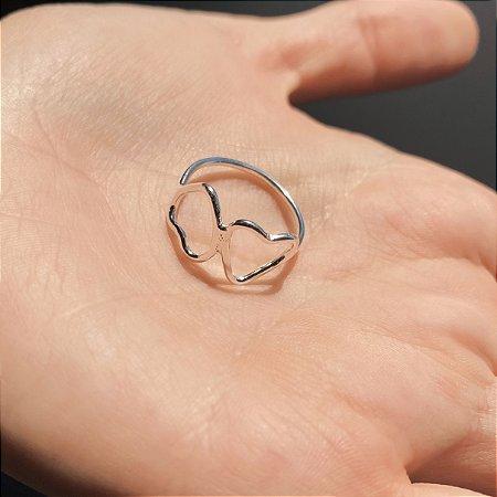 Anel de Prata 925 Coração Duplo Delicado