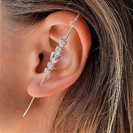 Brinco Ear Pin de Prata 925 com Zircônias Brancas