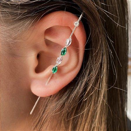 Brinco Ear Pin de Prata 925 Com Zircônias Coloridas