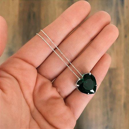 Colar de Prata 925 Coração Zircônia Verde Esmeralda