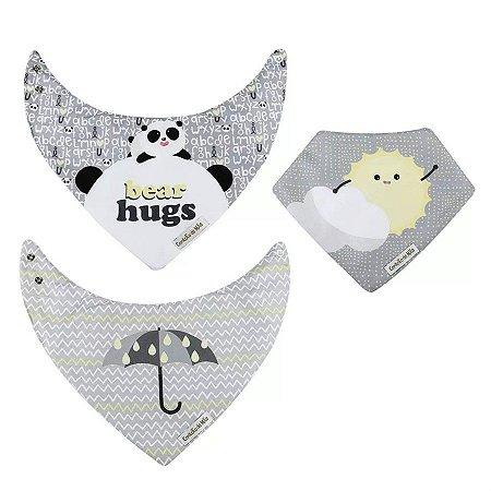 Kit 3 Babadores Bandana Panda - Cinza - Coração de Mãe