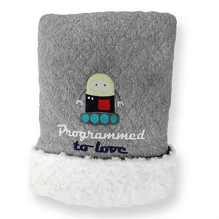 Cobertor Matelassê com Pelúcia Robo - Coração de Mãe