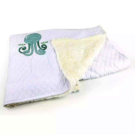 Cobertor Matelassê com Pelúcia Peixe - Coração de Mãe