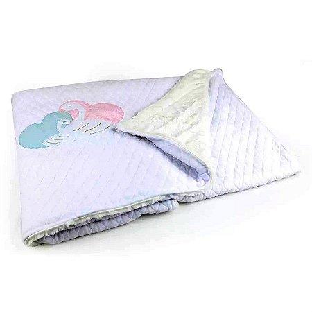 Cobertor Matelassê com Pelúcia Cisne - Coração de Mãe