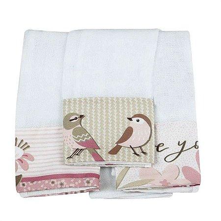 Kit 3 Babitas Fraldas de Boca Birds Rosa - Coração de Mãe
