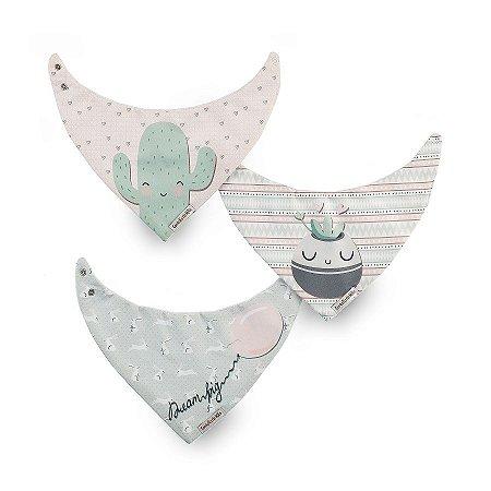 Kit 3 Babadores Bandana Diamante Rosa com Verde- Coração de Mãe