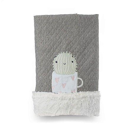 Cobertor para Bebê Peluciado Diamante Rosa com Verde - Coração de Mãe