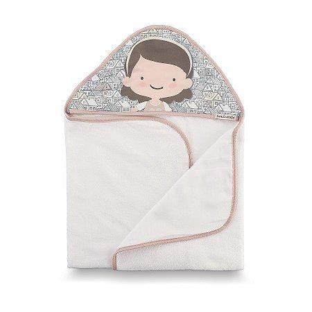 Toalha de Banho com Capuz Casinha Rosê - Coração de Mãe