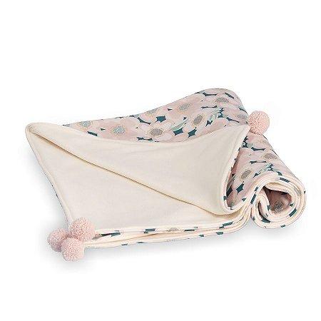 Manta para Bebê Soft Dupla Face Botânica Rosa - Coração de Mãe