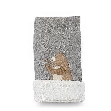 Cobertor para Bebê Peluciado Floresta Verde e Bege - Coração de Mãe