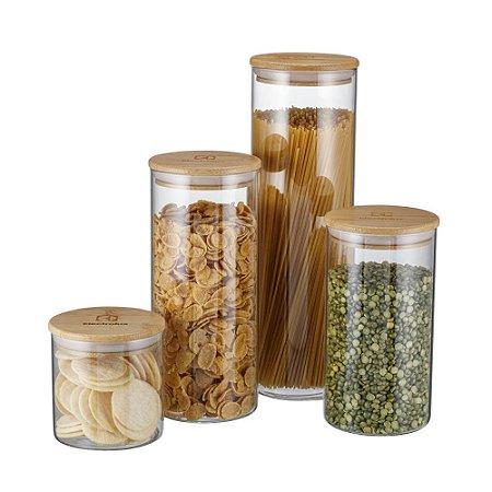 4 Potes de Vidro Herméticos com Tampa de Bambu Electrolux