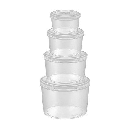 Conjunto 4 potes herméticos de plástico redondos Electrolux