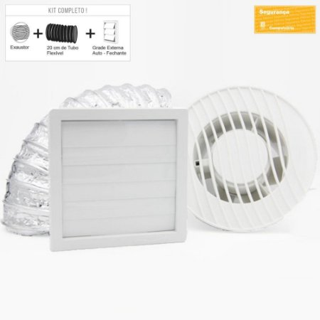 Exaustor para Banheiro Sicflux Mega 34 Bivolt (150mm) - Kit completo