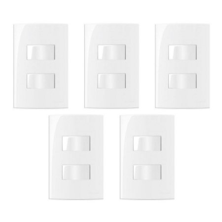 5 Conjuntos MarGirius Sleek 1 Interruptor Simples + 1 Interruptor Paralelo separados - 15815