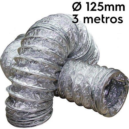 Duto flexível aluminizado 125mm com 3 metros