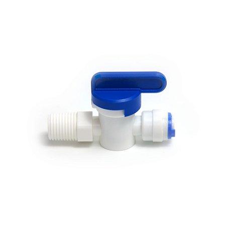 Válvula Fechamento para tubo de água 1/4 pol e rosca 1/4 pol branco