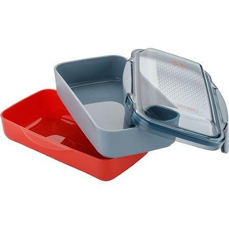 Marmita Lunch Box Electrolux com divisória - Vermelha