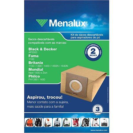 3 Sacos Descartáveis Menalux para Aspirador Black & Decker, Fama, Britânia, Mondial e Philco - SIM01