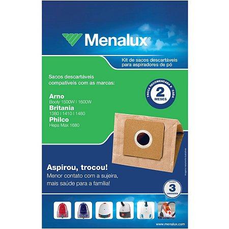 3 Sacos Descartáveis Menalux para Aspirador Arno, Britânia e Philco - SIM02