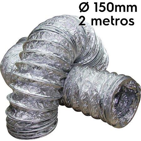 Duto flexível aluminizado 150mm com 2 metros