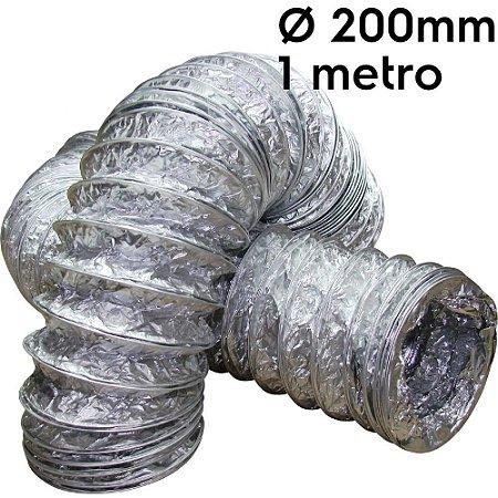 Duto flexível aluminizado 200mm com 1 metro