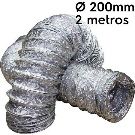 Duto flexível aluminizado 200mm com 2 metros