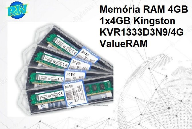 Memória RAM 4GB 1x4GB Kingston KVR1333D3N9/4G ValueRAM