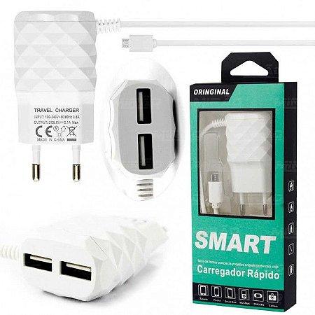 Carregador Smart Micro Usb (v8) Usb Duplo Para Smartphone Diamante Rápido
