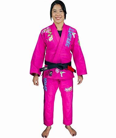 Kimono BJJ - ESPIRITO FEMININO/BEIJA-FLOR cor Pink