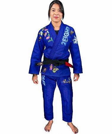 Kimono BJJ - ESPIRITO FEMININO/BORBOLETAS cor Azul