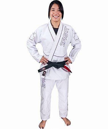 Kimono BJJ FEMININO - linha RIP STOP cor Branco