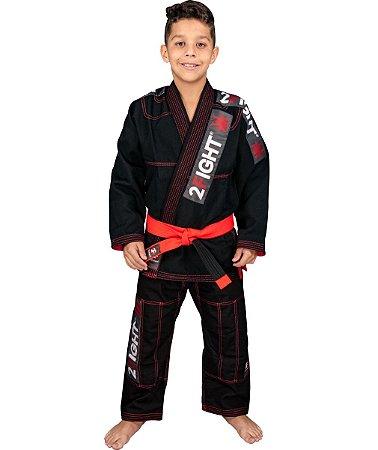 Kimono BJJ INFANTIL - linha Super Trancadinho cor Preto