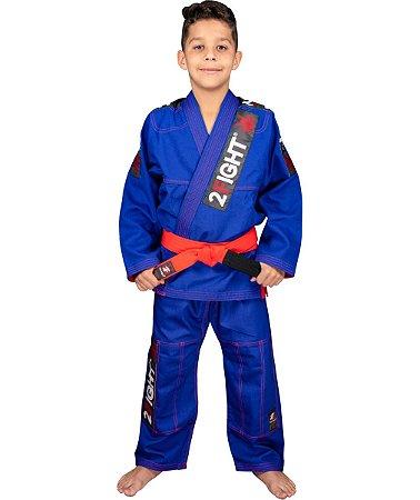 Kimono BJJ INFANTIL - linha Super Trançadinho cor Azul