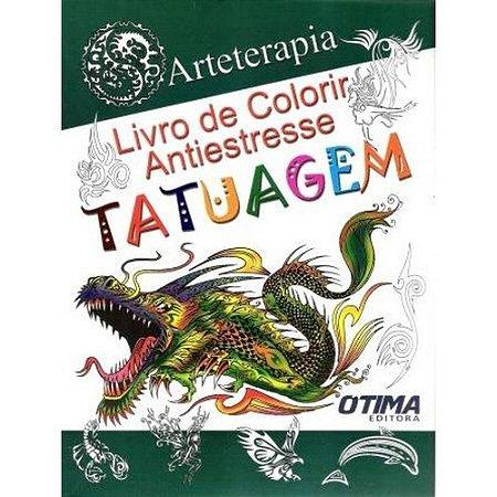 Livro de colorir antiestresse - tatuagem -  arte terapia