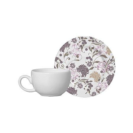 Conjunto 06 Xícaras e Pires Café - Baronesa - Alleanza Cerâmica