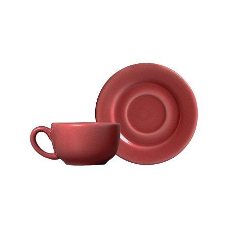 Conjunto 06 Xícaras e Pires Café - Fuchsia - Alleanza Cerâmica